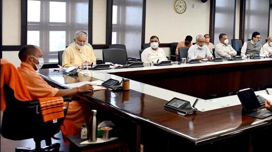 Uttar Pradesh chief minister Yogi Adityanath at a Covid-19 review meeting in Lucknow. (SOURCED)