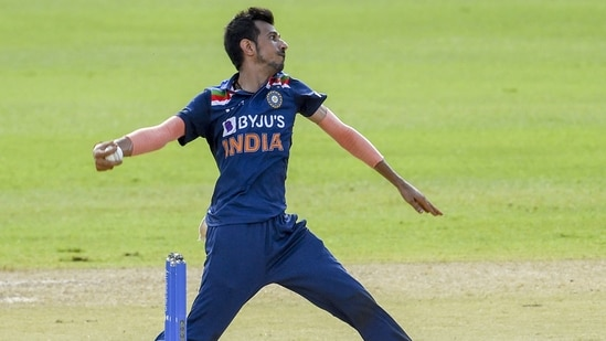 India's Yuzvendra Chahal delivers a ball during the first one-day international (ODI) cricket match between Sri Lanka and India at the R.Premadasa Stadium in Colombo.(AFP)