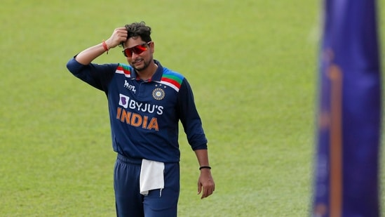 Kuldeep Yadav scratches his head while fielding on the first one-day international cricket match between Sri Lanka and India in Colombo.(AP)