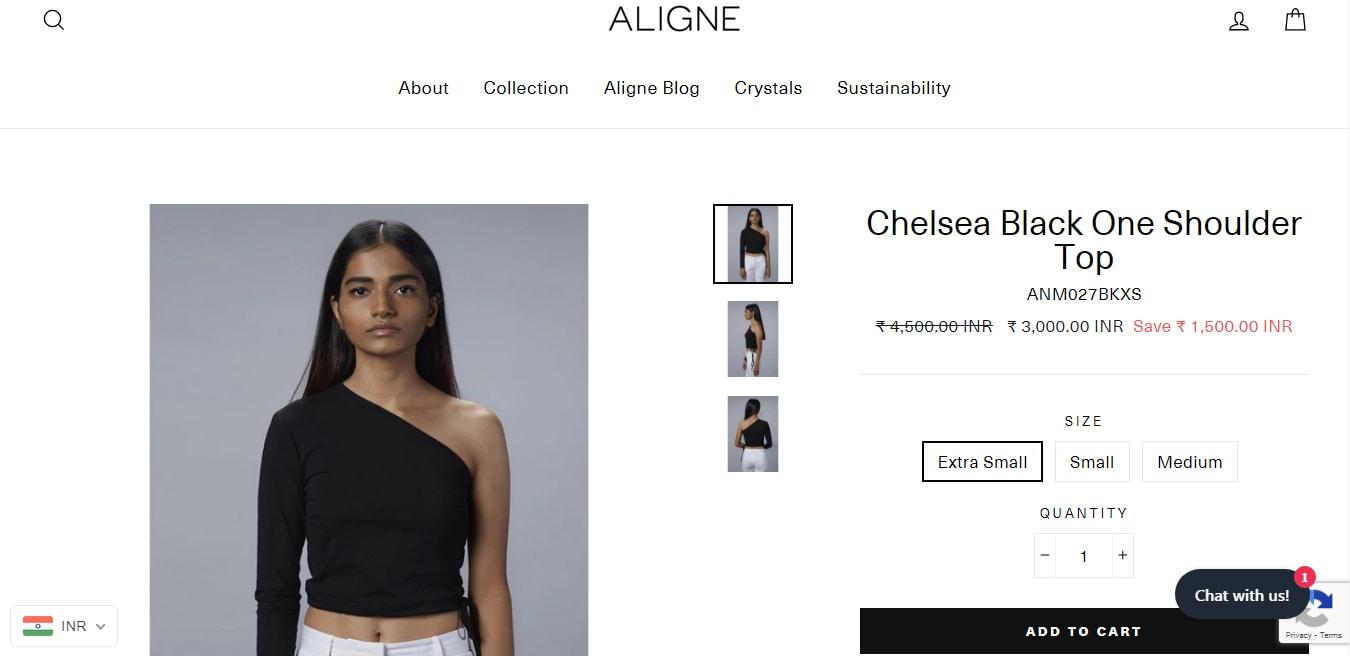 Kriti Sanon's black one-shoulder top from Aligne(alignestudio.com)