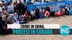 Protes anti-China di luar kantor Perdana Menteri Kanada pada