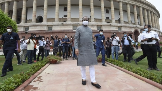 Lok Sabha Speaker Om Birla during an inspection of preparations for the forthcoming monsoon session at the Parliament House in New Delhi, India, on Monday, July 12, 2021.(Arvind Yadav / HT PHOTO)