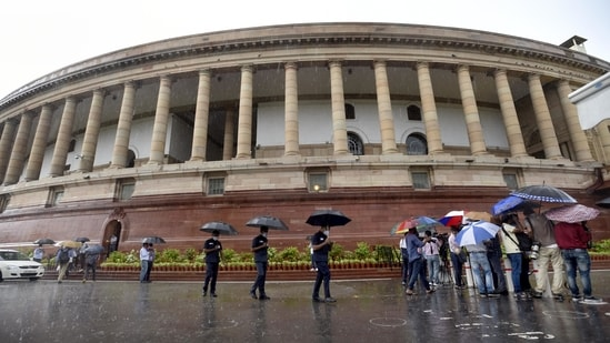 Rain on first day of Monsoon session of Parliament at Parliament house in New Delhi, India, on Monday, July 19, 2021. (Photo by Arvind Yadav/ Hindustan Times)