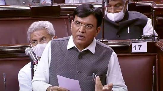 Union Minister Mansukh Mandaviya speaks in Rajya Sabha during the Monsoon session of Parliament, in New Delhi on Tuesday. (ANI Photo/ RSTV)