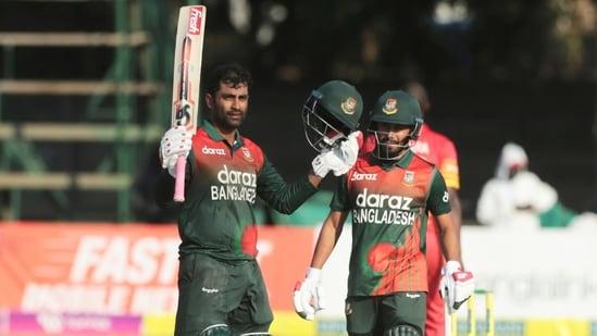 Harare: Bangladesh batsman Tamim Iqbal Khan, celebrates after scoring 100 runs on the final One Day series match between Zimbabwe and Bangladesh at Harare Sports Club in Harare.(AP)