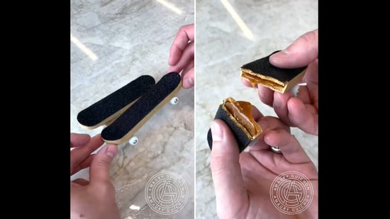 Amaury Guichon's video shows him making Skateboard Caramel Bars. (Instagram/@amauryguichon)