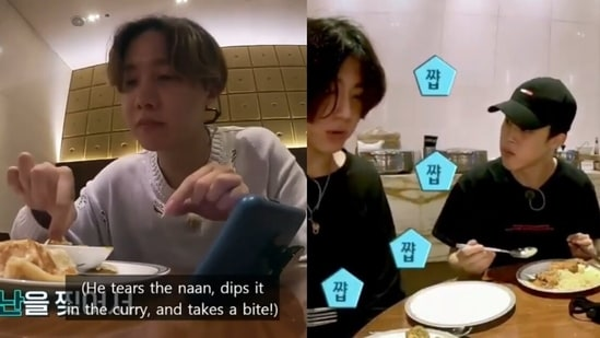 (L) BTS member J-Hope eating naan and curry. (R) Jimin and Jungkook eating a 'milky tofu' that fans believe is paneer.