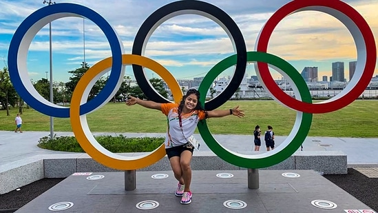 Indian Gymnast Pranati Nayak poses for a picture ahead of Tokyo Olympics.(PTI)