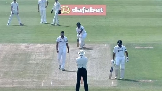 Avesh Khan playing against India in the three-day match(Durham Cricket/screengrab)