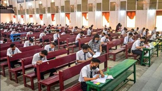 Students appear for their High School Leaving Certificate (HSLC) exam for the Nagaland Board of School Education (NBSE), amid coronavirus pandemic, in Dimapur on April 7. (File photo)