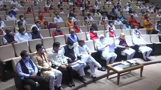 PM Modi at all-BJP MPs meeting at Parliament on Tuesday.(ANI Photo)