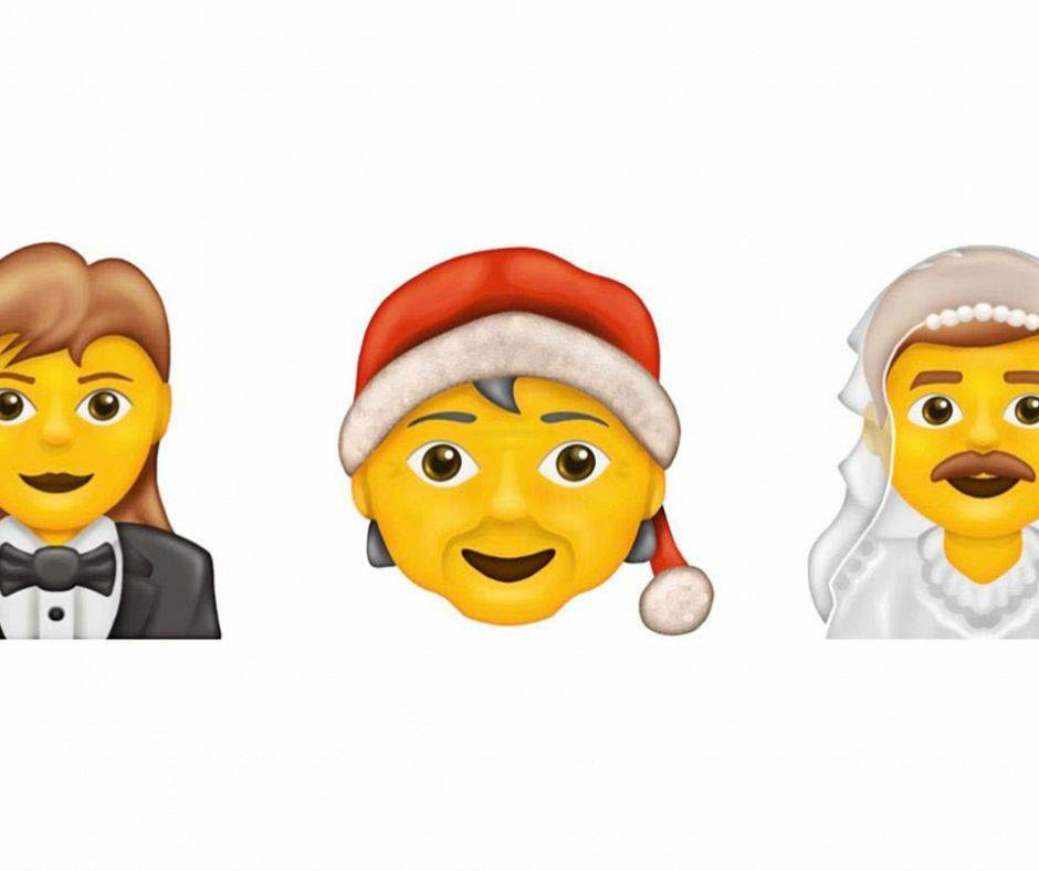 We now have emojis that defy stereotypical gender roles, such as a woman in a tuxedo, Mx Claus and a moustached man in a white veil (Photo: Facebook)