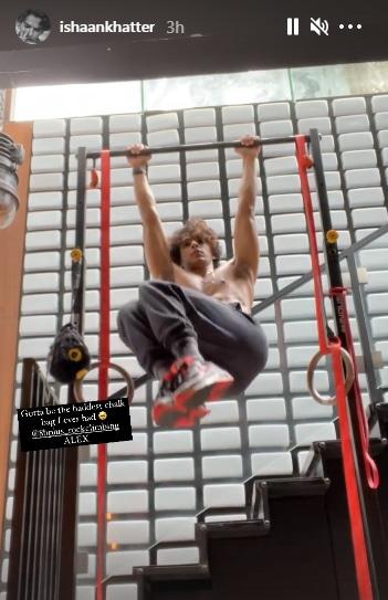 Ishaan Khatter performs hanging leg raises(Instagram/ishaankhatter)