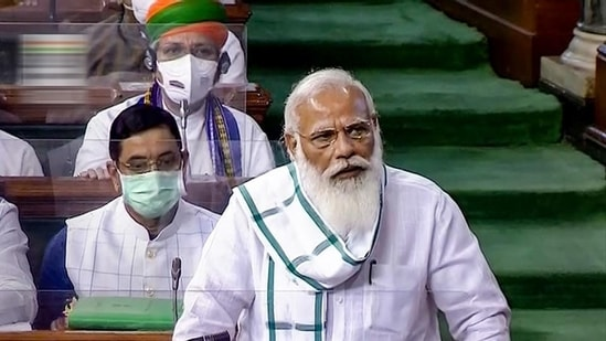 Prime Minister Narendra Modi speaks in the Lok Sabha, on the first day of the monsoon session of Parliament, in New Delhi, Monday. (PTI)