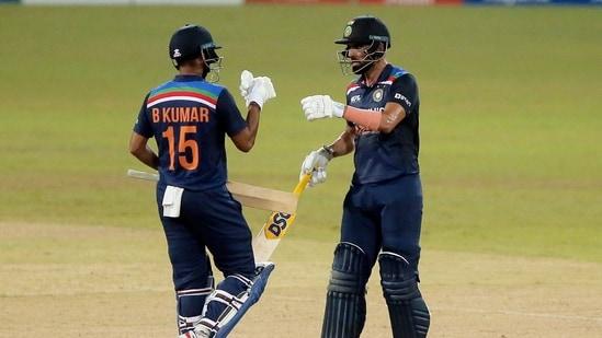 India's Deepak Chahar celebrates his half century with Bhuvneshwar Kumar(REUTERS)