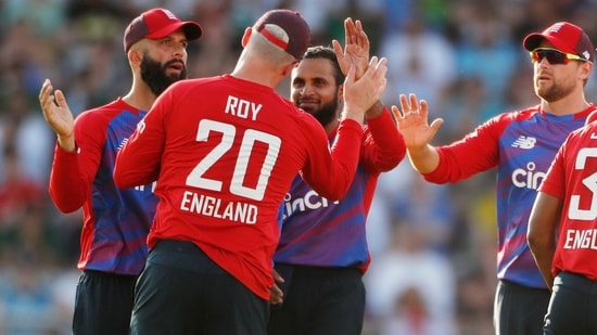 England v Pakistan: England's Adil Rashid celebrates taking the wicket of Pakistan's Sohaib Maqsood, caught by Jason Roy(Action Images via Reuters)