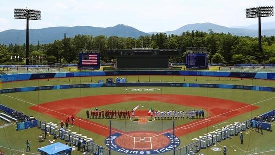 Softball action begins at Fukushima Azuma Baseball Stadium. (REUTERS)