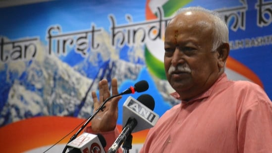 At an event in Guwahati, Bhagwat also said that there were organised attempts to increase the Muslim population since 1930 in Punjab, Sindh, Bengal, Assam to establish dominance and turn the country into Pakistan.(ANI Photo)