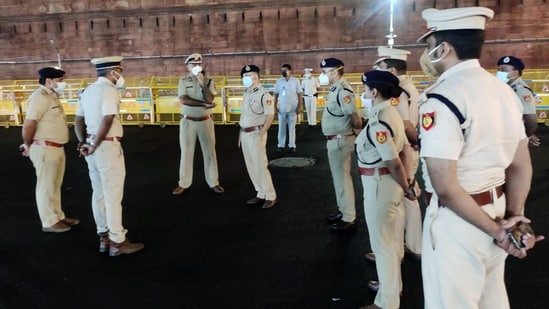 The Delhi Police is gearing up for the 'Kisan Panchayat' which will begin from Thursday.(ANI Photo)