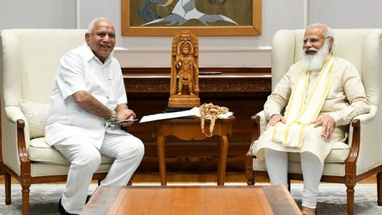 Karnataka chief minister BS Yediyurappa met Prime Minister Narendra Modi in Delhi on July 16.(ANI)