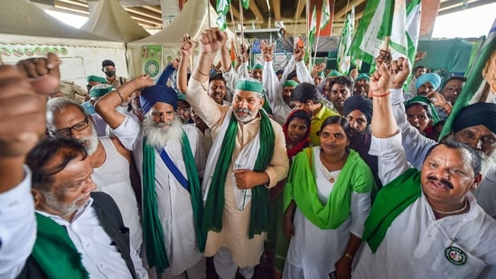 The farmers' unions said they will hold a 'Kisan Parliament' at Jantar Mantar parallel to the Monsoon Session of the Parliament and around 200 protesters from Singhu border would attend it every day. (PTI Photo/ Manvender Vashist)(PTI)