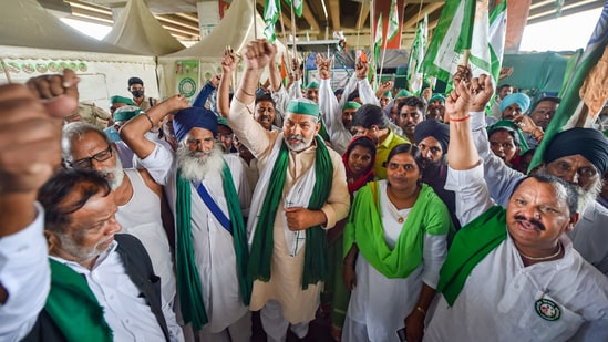 Farmers have been protesting on the different borders of the national capital since November 26 last year against three newly enacted farm laws. Farmer leaders and the Centre have held several rounds of talks but the impasse remains.(PTI)