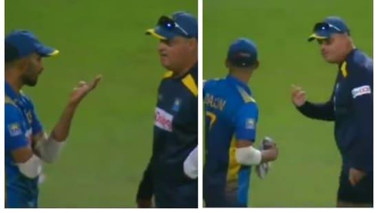 Sri Lanka captain Dasun Shanaka and coach Mickey Arthur arguing after 2nd ODI against India