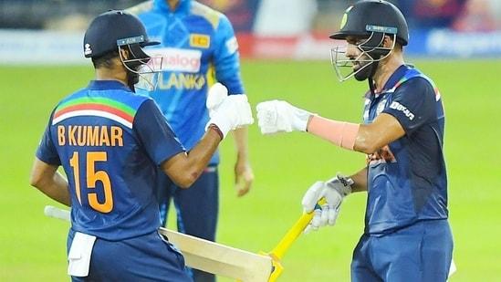 Deepak Chahar (R) and Bhuvneshwar Kumar during their partnership. (Sri Lanka Cricket)