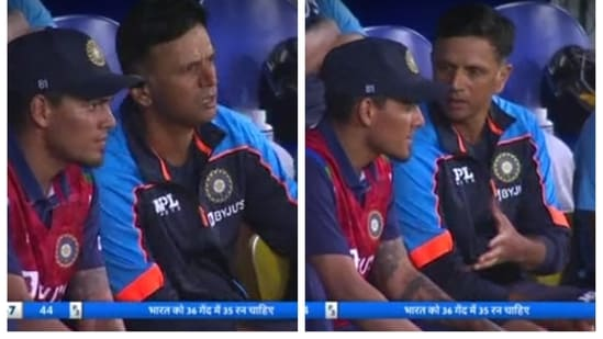 Rahul Dravid talking to Rahul Chahar in the dugout to pass on a message for Deepak Chahar batting in the middle