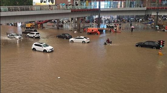 A flooded street following heavy rains in Zhengzhou in China's central Henan province. (AFP)
