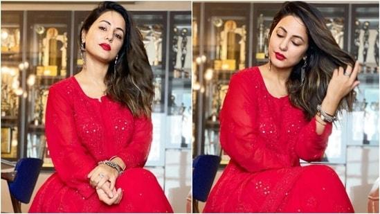 Eid Mubarak: Hina Khan pairs <span class='webrupee'>₹</span>6k chikankari gharara set with bold red lips(Instagram/@therealhinakhan)