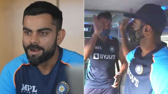 Virat Kohli carefully watches on as Cheteshwar Pujara and R Ashwin share a high-five in the bus. (Getty Images)
