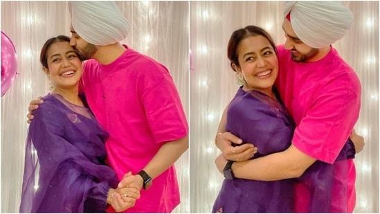 Eid Mubarak: Neha Kakkar in purple cotton kurta looks chic with Rohanpreet Singh(Instagram/@nehakakkar)