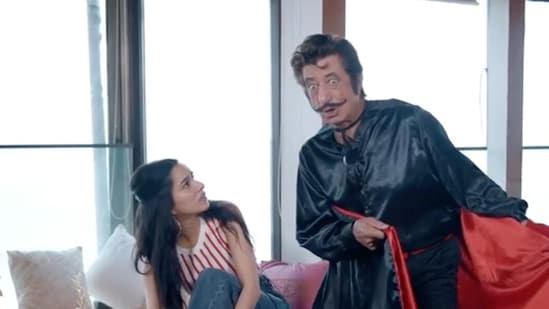 Shraddha Kapoor and Shakti Kapoor in a new video.