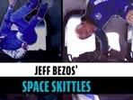 Jeff Bezos floats in space shuttle, passes Skittles in zero gravity | Blue Origin