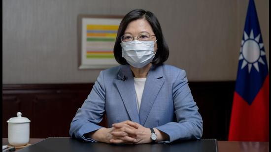 President Tsai Ing-wen speaks at the presidential office in Taipei, Taiwan. (AP)