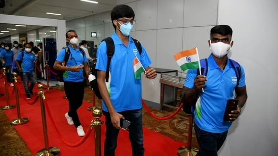 Indian Olympic players during the sending-off ceremony from Delhi Airport for Tokyo Olympics, in New Delhi. (ANI Photo)