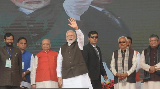 Prime Minister Narendra Modi with chief minister Nitish Kumar, and then governor Lalji Tondon, lays foundation stone of development projects, including Patna Metro project on February 17, 2019. (HT archive)