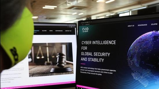 The website of Israel-made Pegasus spyware . Private Israeli firm NSO Group has denied media reports its Pegasus software is linked to the mass surveillance of journalists and rights defenders, and insisted that all sales of its technology are approved by Israel's defence ministry. (AFP)
