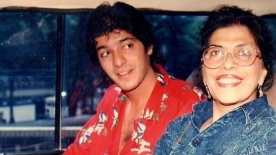 Chunky Panday with his mother Snehlata Panday.