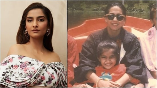 Sonam Kapoor Ahuja: Sonam too loves uploading throwback pictures from her early days on her Instagram handle. In this photo, Sonam, who looks like she is in her pre-teens is all smiles for the camera as she sits on her mom Sunita Kapoor's lap.(Instagram/@sonamkapoor)