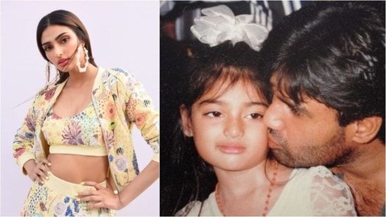 Athiya Shetty: Sunil Shetty's daughter Athiya often shares unseen pictures from her childhood on her Instagram handle. In this adorable still from her young days, daddy Sunil showers all his love on his little one.(Instagram/@athiyashetty)