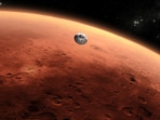 An artist's impression of the Nasa Mars mission approaching the red planet. (Photo via Nasa)