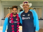 Rishabh Pant welcomed by Ravi Shastri after recovering from Covid-19.(Twitter)