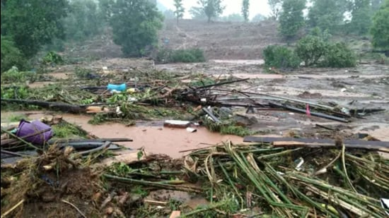 This picture released by the National Disaster Response Force (NDRF) shows debris of houses in Taliye village after a landslide in Mahad of Raigad district of Maharashtra. (NDRF / AFP)
