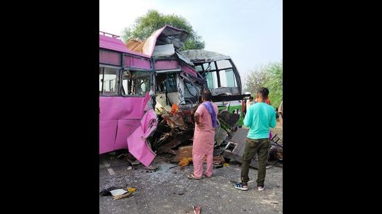The buses that collided at Lohara Chowk in Moga on Friday morning, claiming the lives of there Congress activists and leaving at least 10 injured. (HT Photo)