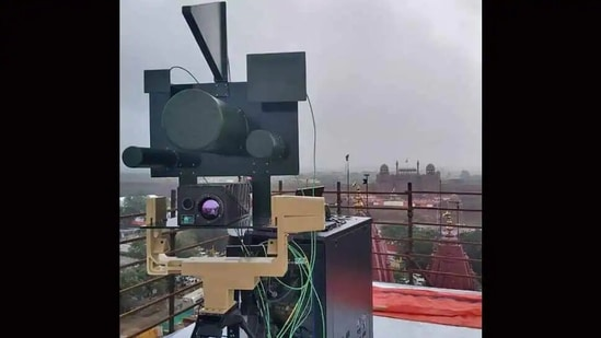 The DRDO's anti-drone system is seen during Republic Day last year.