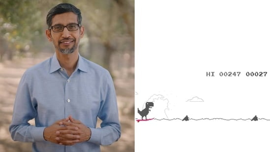 Sundar Pichai took to Twitter to share the picture of Google's dino game.(Instagram/@sundarpichai)