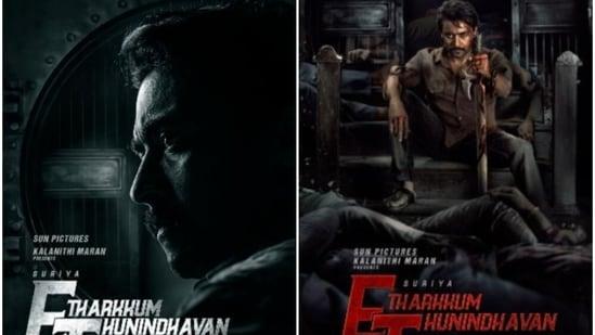 Suriya in the posters of Etharkkum Thunindhavan.