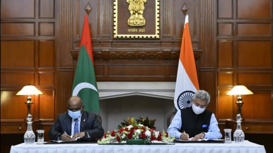 The Maldives has benefited from large India-backed infrastructure projects worth $2 billion. (@DrSJaishankar/Twitter)
